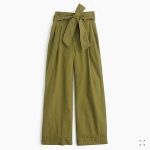 J.Crew Olive Poplin Pleat Tie Waist Crop Wide Leg